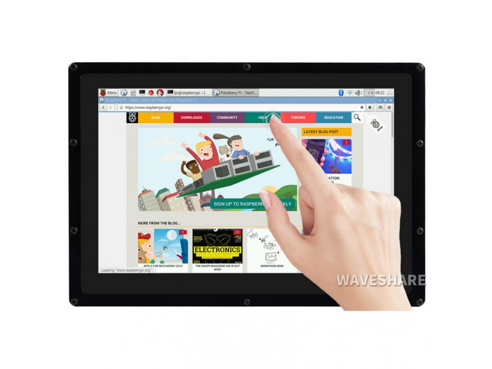 10.1inch Capacitive Touch Screen LCD with Case, 1280×800, HDMI for Raspberry Pi