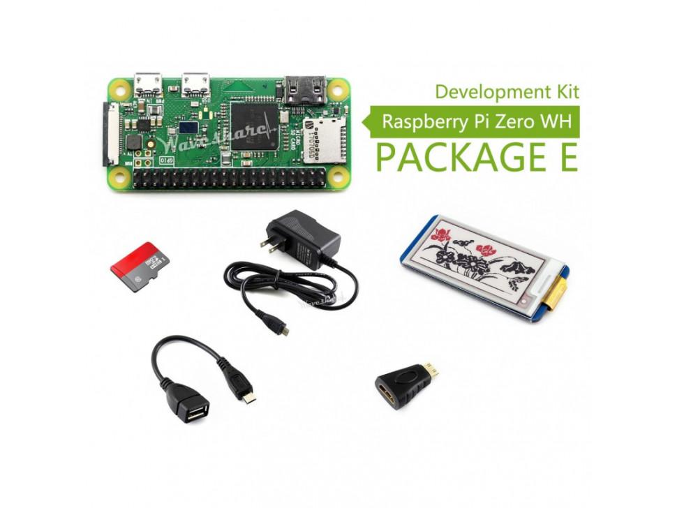 Raspberry Pi Zero WH Package E with 2.13inch e-Paper HAT