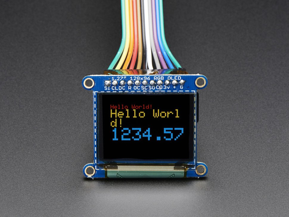 """OLED Breakout Board 16-bit Color 1.27"""" with microSD holder"""