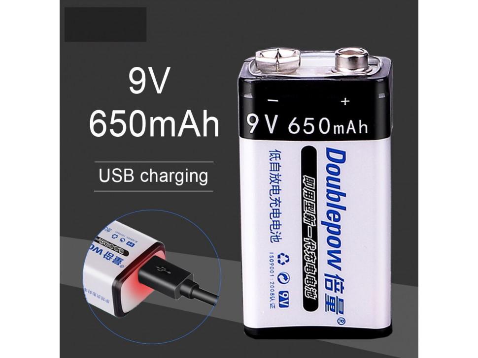 9V 650mAh USB Rechargeable LiPoly Battery