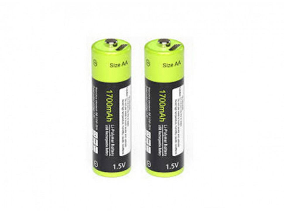 Znter 1.5V 1700mAh USB Rechargeable AA LiPoly Battery (2pcs)