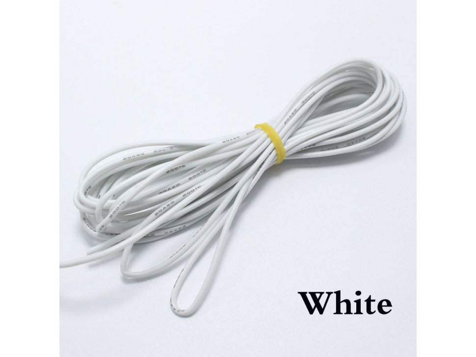 Wire White 22 AWG Flexible Silicone Cable 0.3mm2 High-Temperature Max 200 Degrees Arduino