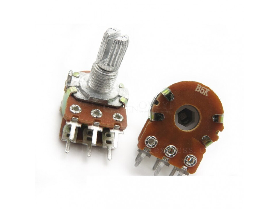 Potentiometer 6Pin Shaft WH148 Amplifier Dual Stereo 5K