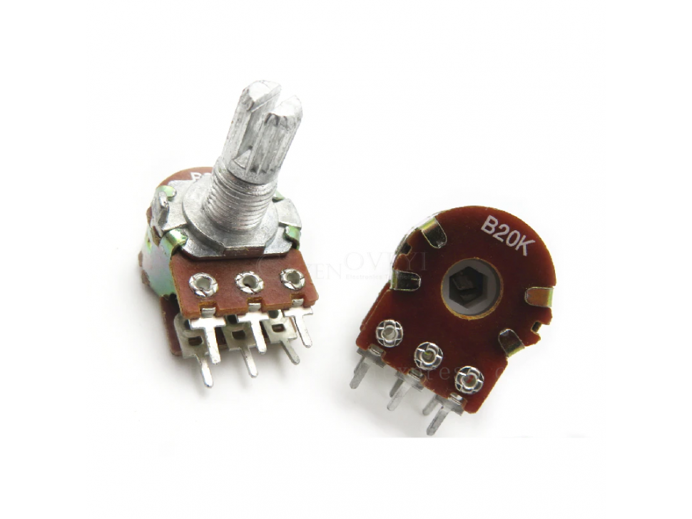 Potentiometer 6Pin Shaft WH148 Amplifier Dual Stereo 50K