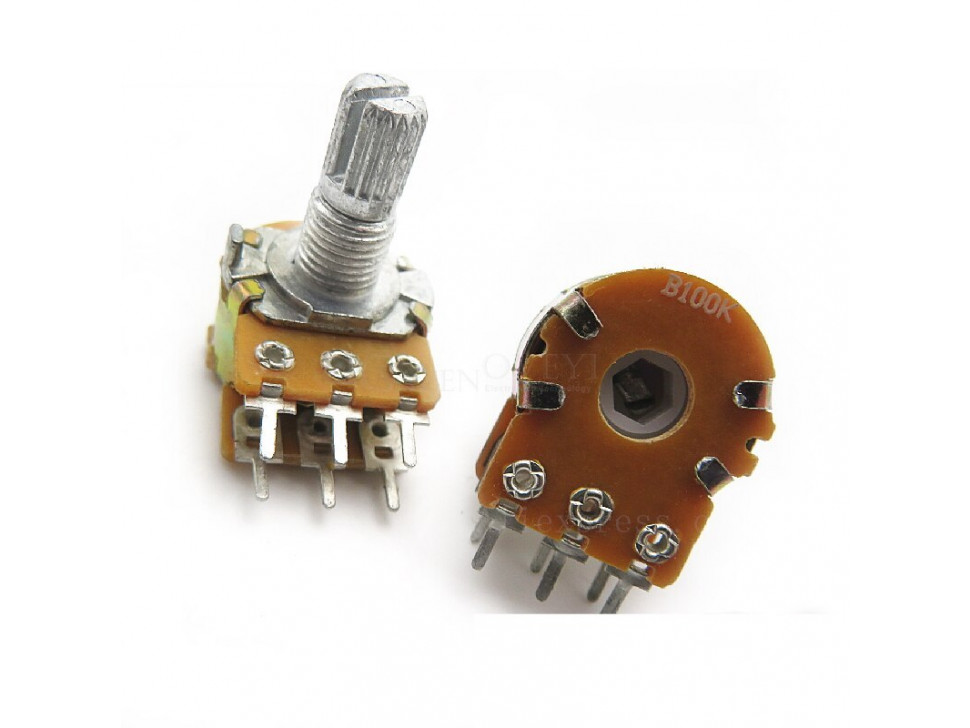 Potentiometer 6Pin Shaft WH148 Amplifier Dual Stereo 100K