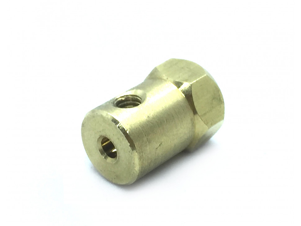 Coupling 3mm Hexagon Brass for Motor Shafts and Wheels