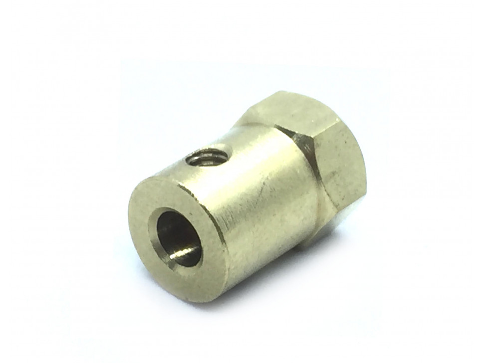 Coupling 5mm Hexagon Brass for Motor Shafts and Wheel
