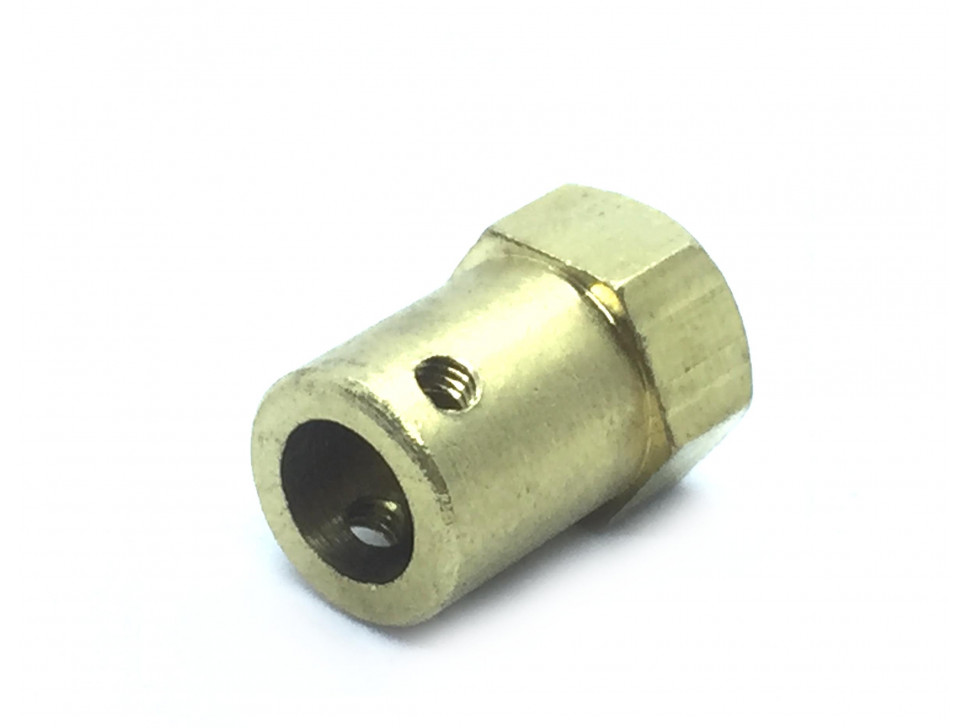 Coupling 7mm Hexagon Brass for Motor Shafts and Wheel