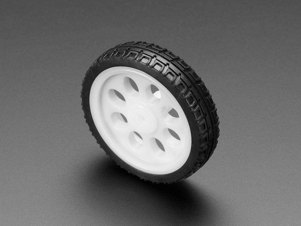 Thin White Wheel for TT DC Gearbox Motors 65mm Diameter