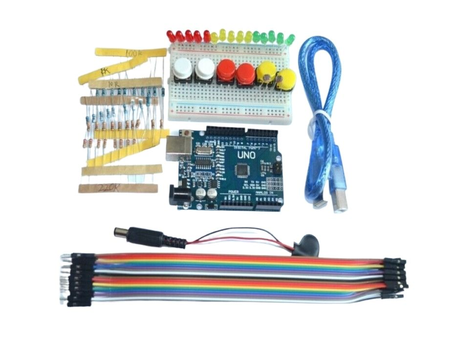 Arduino Uno CH340 Starter Kit with Breadboard LED Jumper wire Button