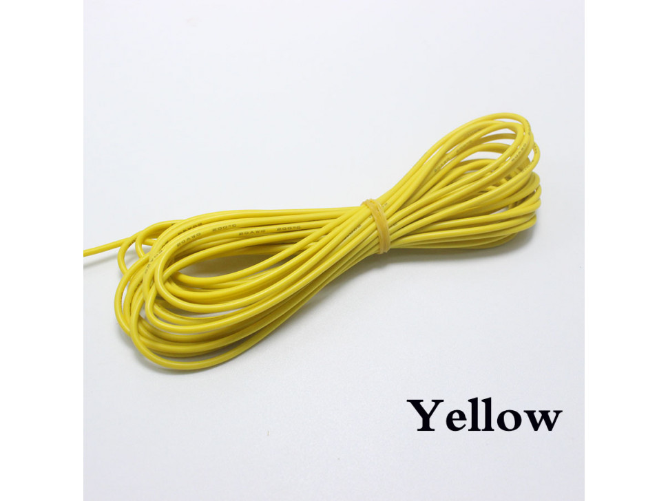 Wire Yellow 22 AWG Flexible Silicone Cable 0.3mm2 High-Temperature Max 200 Degrees Arduino