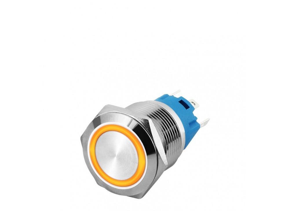 LED YELLOW 16mm Illuminated Flat Metal Push Button Switch 16mm
