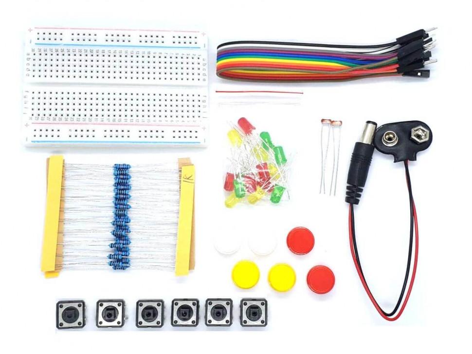 Electronics Kit Resistor LED Button Breadboard Wire
