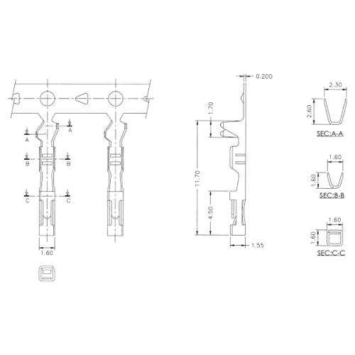 wires   crimp pins female for 0 1 u0026quot  dupont housings 100pcs