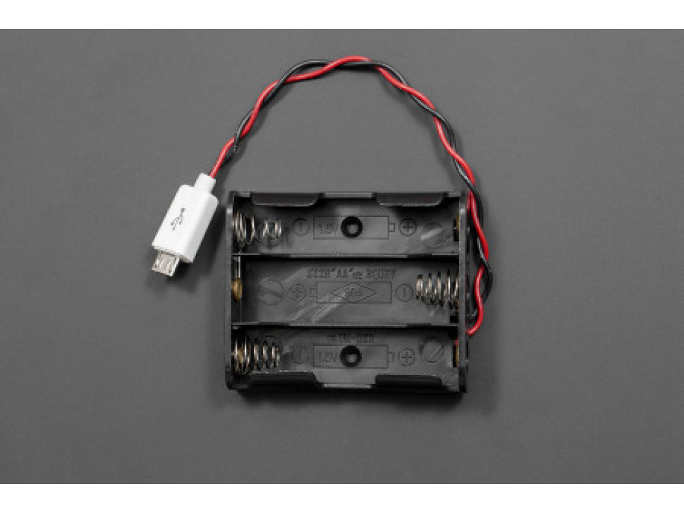 MicroUSB Battery Holder 3xAA